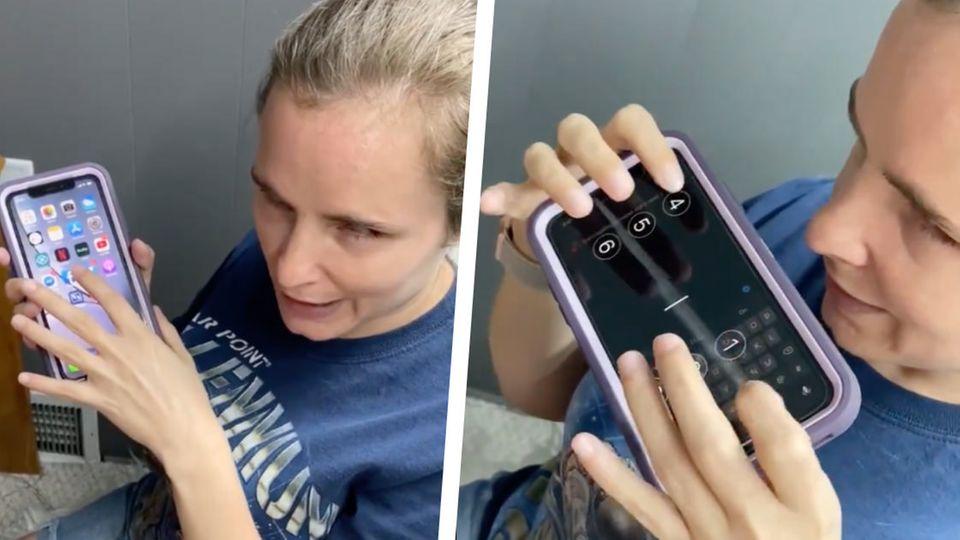 Die blinde Twitter-Nutzerin Kristy Viers zeigt, wie sie ihr iPhone benutzt