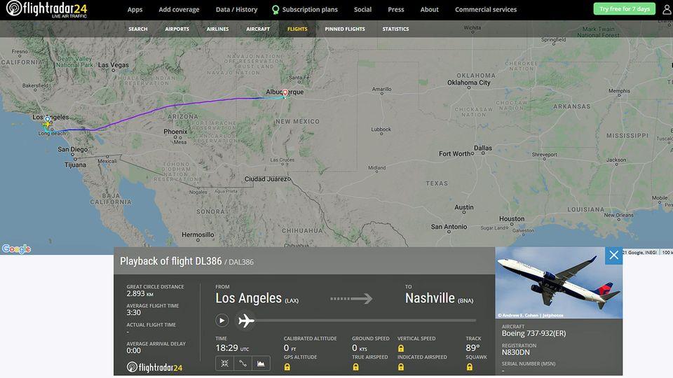 Der Flug DL 386 von Los Angeles nach Nashville wurde am 4. Juni nachAlbuquerque umgeleitet.