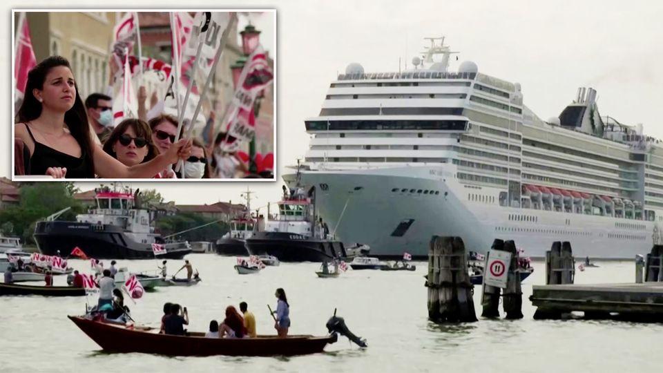 Venedig: Klimaschützer empfangen erstes Kreuzfahrtschiff nach Corona-Lockerung lautstark