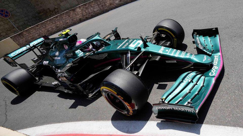 Sebastian Vettel aus Deutschland fahrt im Team Aston Martin in Baku
