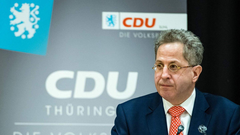 Hans-Georg Maaßen vor CDU-Logo Thüringen