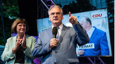 Reiner Haseloff und seine Frau feiern den Wahlsieg der CDU in Sachsen-Anhalt