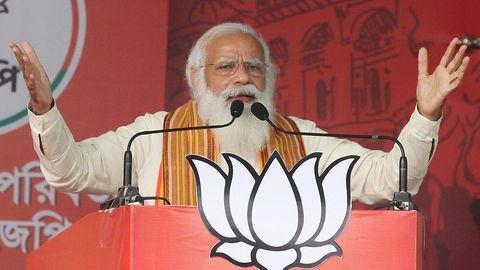 Indiens Premierminister Narendra Modibei einer Wahlverstanstaltungim April