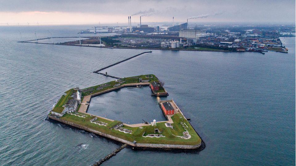 Eine Luftaufnahme von Kopenhagens Hafen