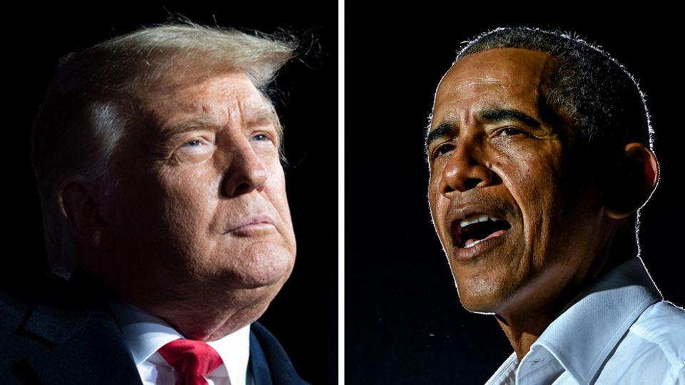 Die früheren US-Präsidenten Donald Trump (l.) und Barack Obama