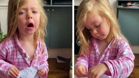 Die dreijährige Tabby schäumt vor Wut, weil sie ihr Bild im Müll gefunden hat
