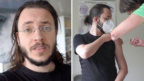 Stern-Redakteur Florian Saul wird mit dem AstraZeneca-Impfstoff gegen Covid-19 geimpft.