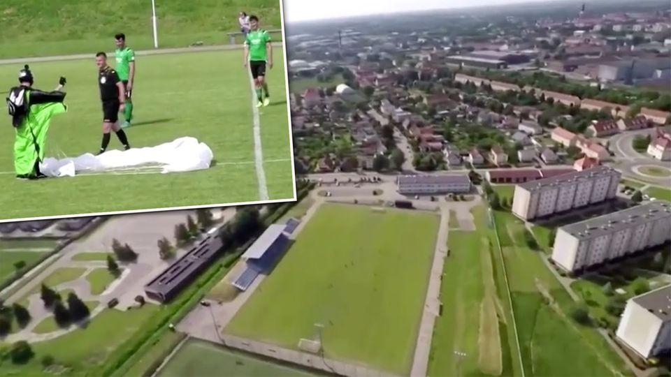 Polen: Fallschirmspringer stört Fußballspiel – und kassiert prompte Verwarnung