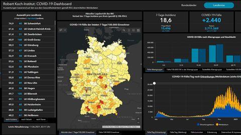 Coronavirus-Dashboard des Robert-Koch-Instituts vom Freitagmorgen