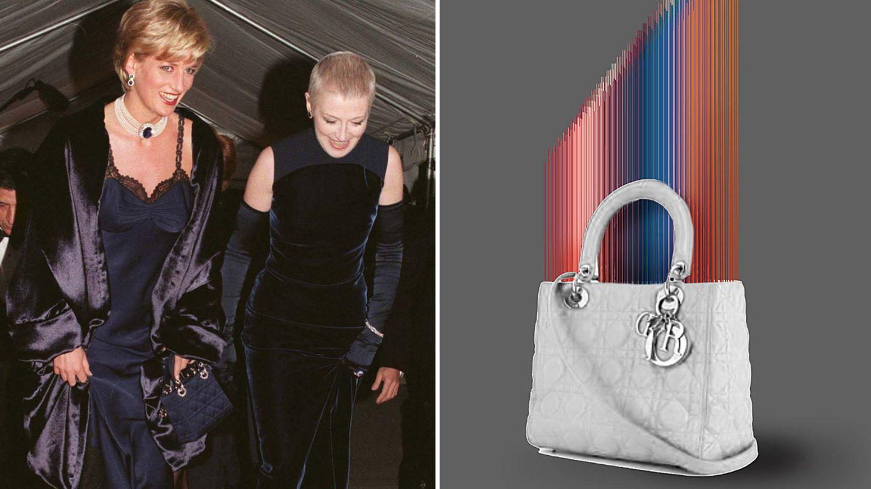 Lady Diana 1996 mit ihrer Lady Dior (l.) und ein von dem KünstlerTomislav Topic gestaltetes Exemplar der Tasche
