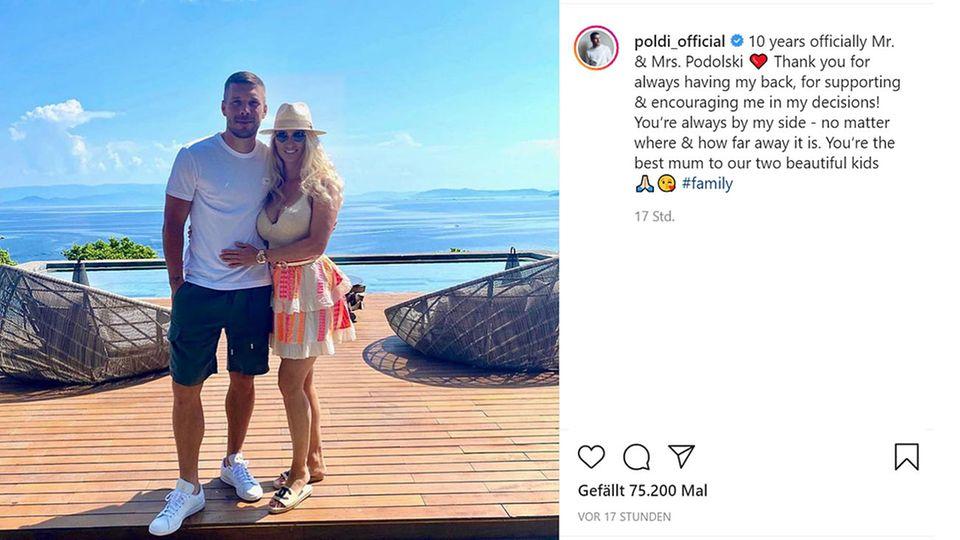 Vip News: Lukas Podolski und seine Frau Monika feiern 10. Hochzeitstag