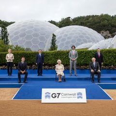 Queen Elizabeth II. und die Staatschefs beim G7-Gipfel in Cornwall