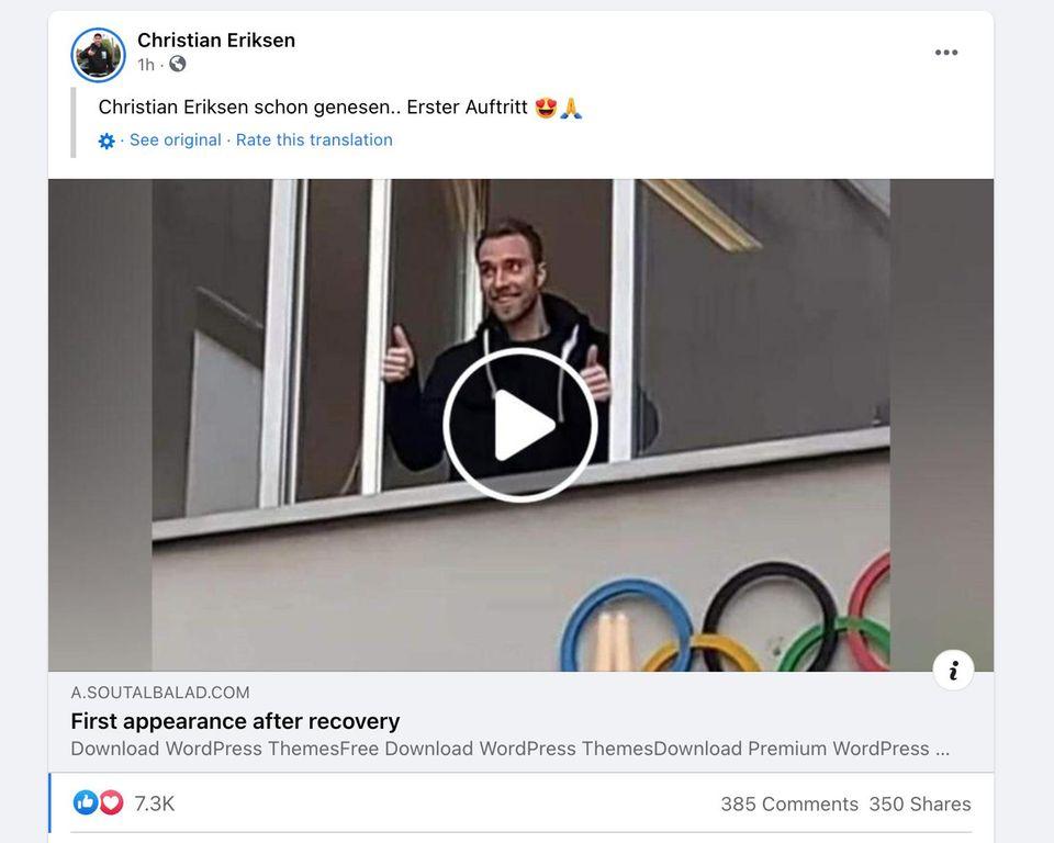 Eriksen-Fake: Ein gefälschter Facebook-Beitrag sammelt tausende Reaktionen