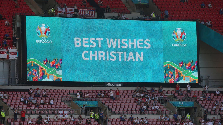 Offizielle Grüße von der Uefa gab es vor dem Spiel zwischen England und Kroatien im Wembleystadion