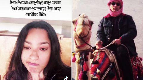 18-Jährige neben einem Foto von ihrem Vater