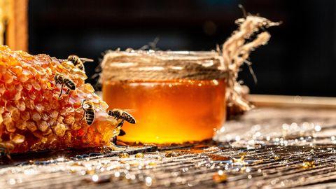 Bienen sind an Honigwaben zugange. Im Hintergrund steht ein Glas mit Honig.