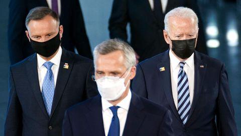 Von links: Polens Präsident Andrzej Duda, Nato-Generalsekretär Jens Stoltenberg und US-Präsident Joe Biden