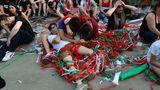 Lange Stand gehalten, dann hart geschlagen: Fans der ungarischen Mannschaft nach dem Spiel gegenPortugal in Budapest