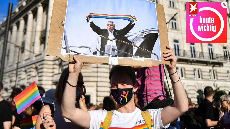 Ein Demonstrant protestiert mit einem Plakat, auf dem Ungarns Ministerpräsident Viktor Orban zu sehen ist