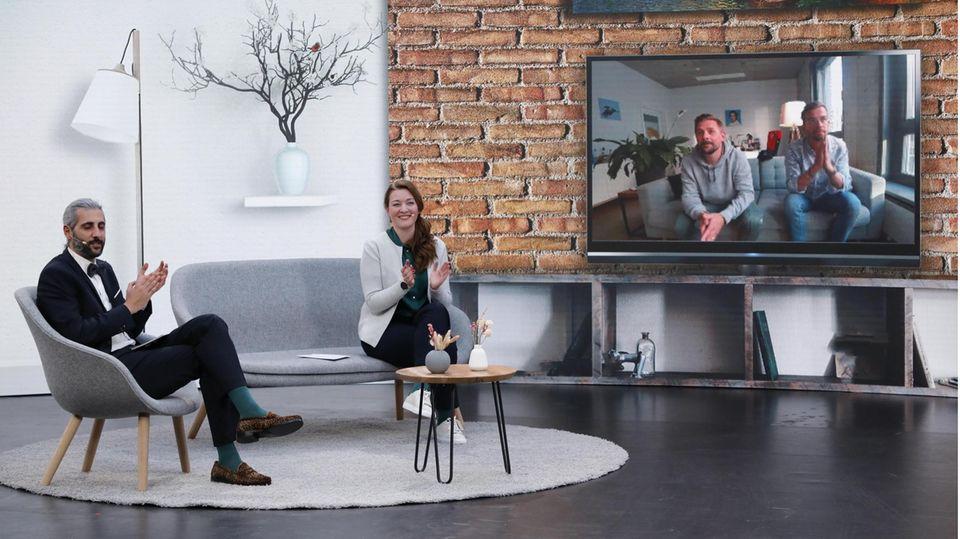 Joko Winterscheidt, Klaas Heufer-Umlauf, Stern-Chefredakteurin Anna-Beeke Gretemeier, Moderator Michel Abdollahi