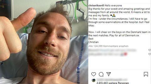 Daumen hoch: Christian Eriksen liegt im Krankenhaus in Kopenhagen und erholt langsam von seinem Herzstillstand