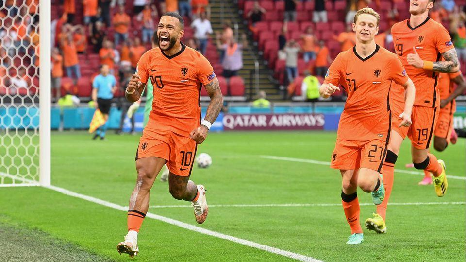 Memphis Depay nach seinem 1:0 für die Niederlande im EM-Vorrundenspiel gegen Österreich