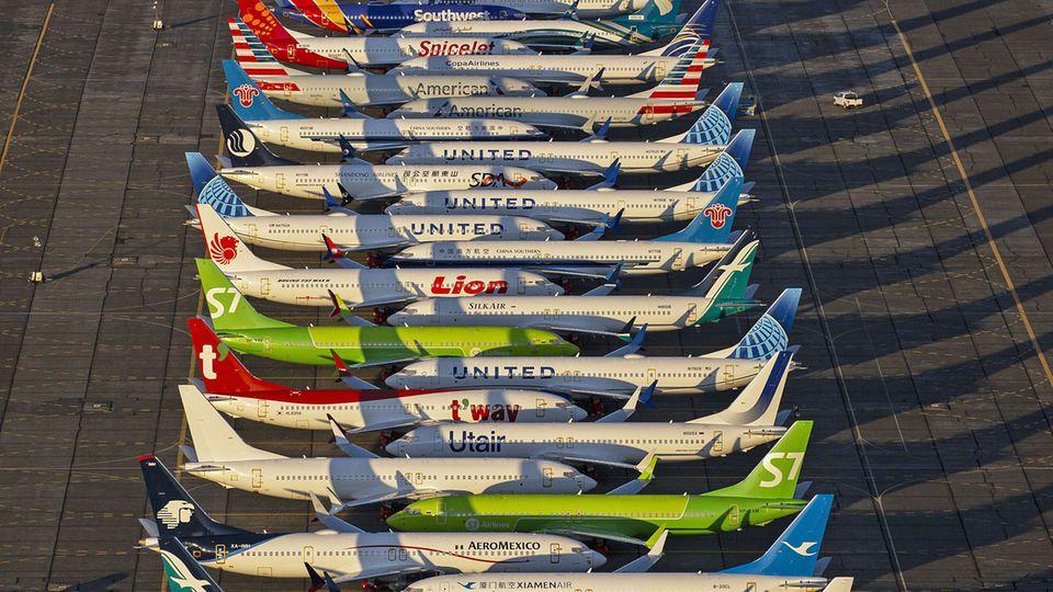 Einige der mehr als 400 auf Halde produzierten Boeing 737 Max stehen auf dem Flughafen Moses Lake im Bundesstaat Washington