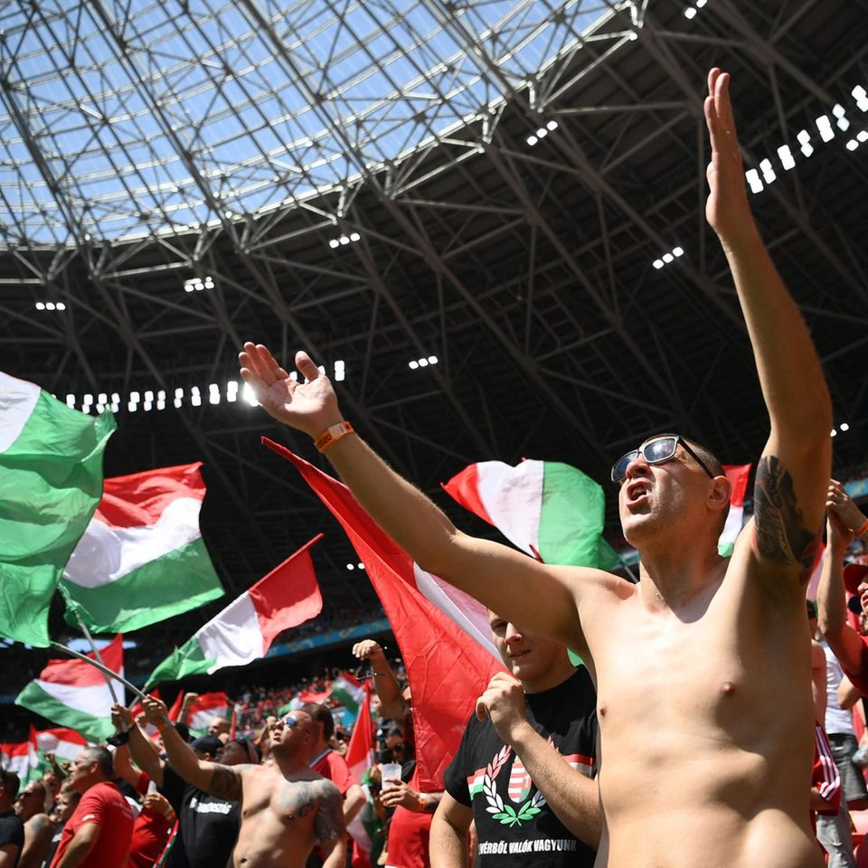Ungarische Fans machen Stimmung im Stadion von Budapest