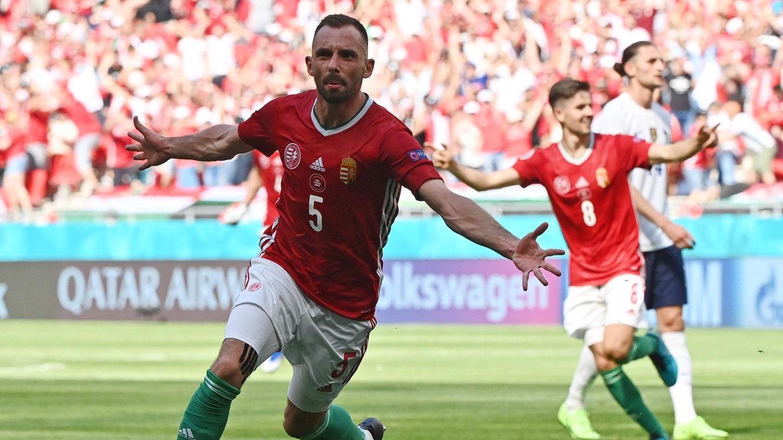 Ungarns Attila Fiola jubelt nach seinem 1:0 gegen Frankreich