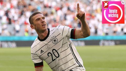 Robin Gosens feiert das vierte Tor der DFB-Elf im Spiel gegen Portugalam Samstag in München