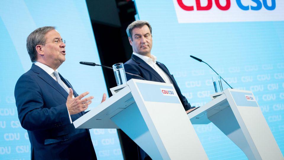 Armin Laschet (l.), CDU-Bundesvorsitzender und und Markus Söder, CSU-Vorsitzender
