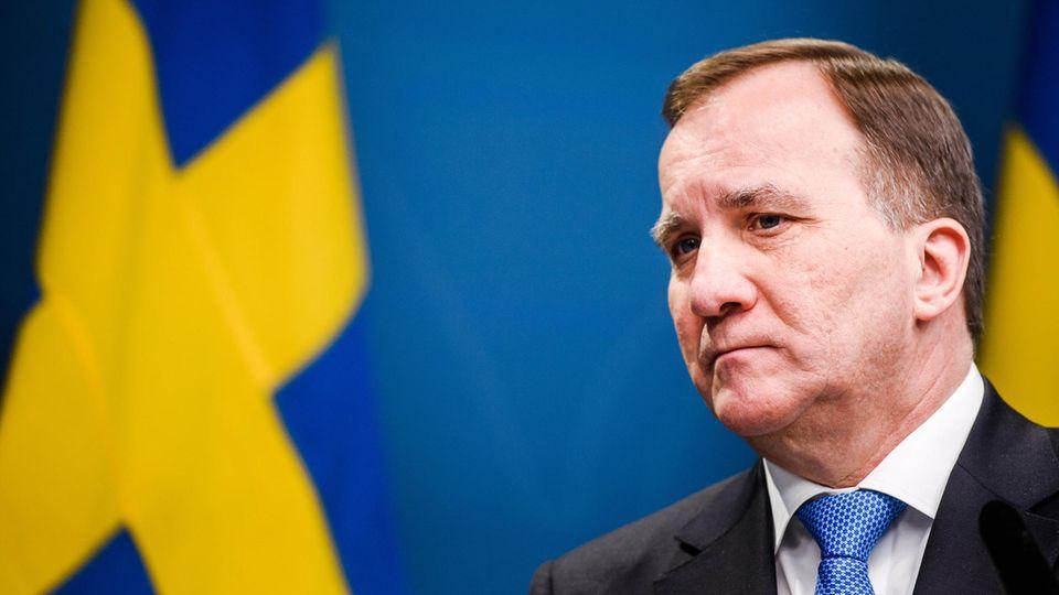 Stefan Löfven, Ministerpräsident von Schweden, nimmt an einer Pressekonferenz teil