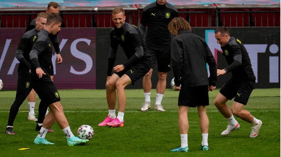 Tschechiens Fußballnationalmannschaft beim Training