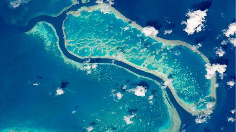 Dieses Foto des Great Barrier Reef wurde 2015von der Internationalen Raumstation ISS aus dem All gemacht. Das einzigartige Ökosysten ist seit 40 Jahren Unesco-Weltnaturerbe.