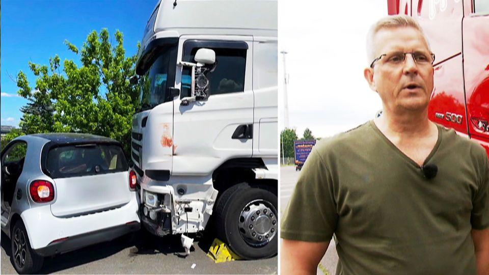 Unfallbild von einem LKW mit einem Kleinwagen