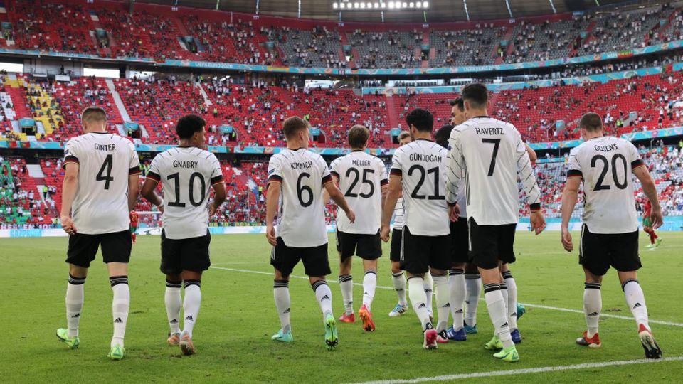 Die Nationalmannschaft beim letzten EM-Spiel gegen Portugal in München