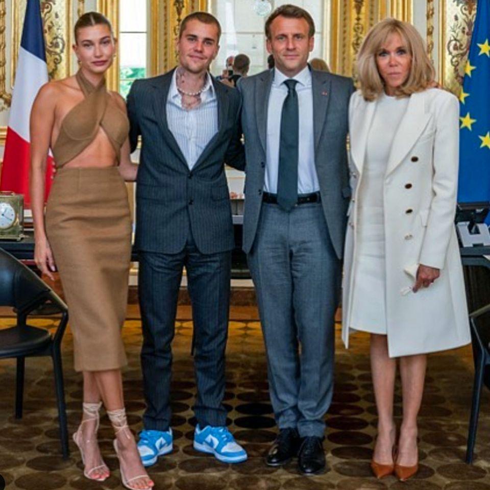 Vip News: Hailey und Justin Bieber treffen Emmanuel Macron