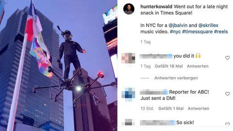 """Video aus New York: Wie in """"Spiderman"""": Da fliegt ein Mann auf einem Hoverboard über den Times Square"""