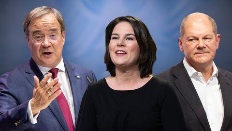 Dreikampf: Olaf Scholz (rechts), Annalena Baerbock und Armin Laschet kämpfen um den Einzug ins Kanzleramt