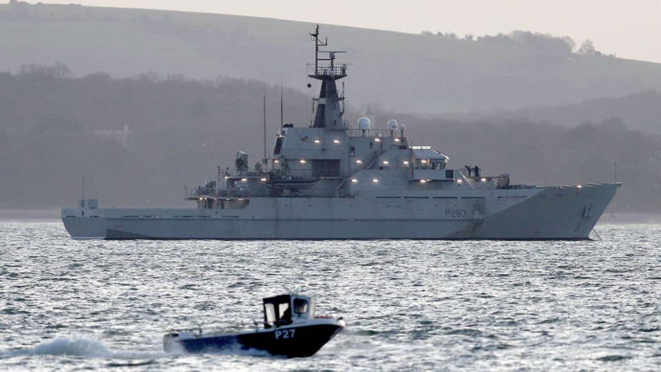 Die HMS Mersey, das Flusspatrouillenschiff der Royal Navy