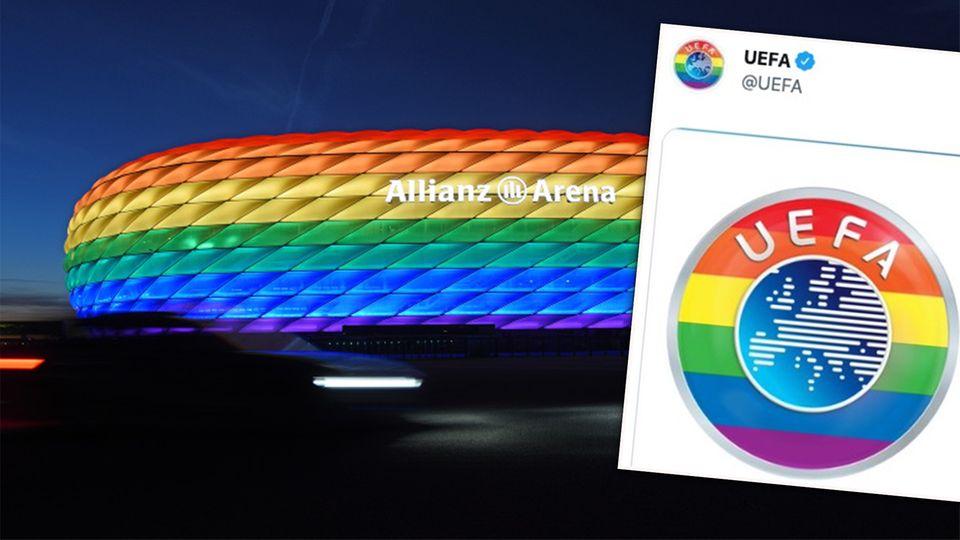In Regenbogenfarben beleuchtete Allianz-Arena und buntes Uefa-Logo