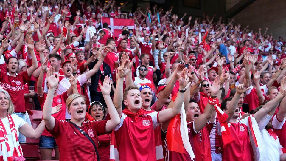 EM, Vorrunde, Gruppe B, 2. Spieltag, Dänemark - Belgien im Parken-Stadion. Dänische Fans jubeln vor Spielbeginn.