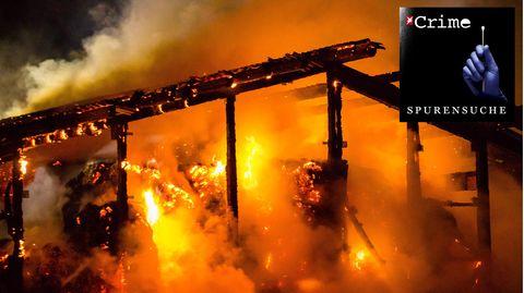 Eine brennende Scheune