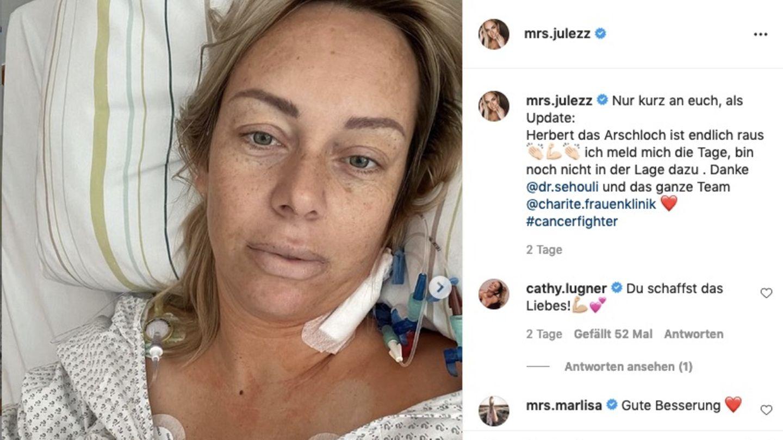 Julia Holz nach der OP im Krankenhaus