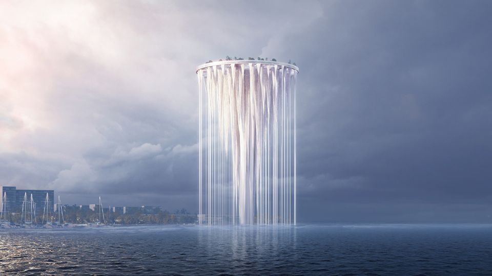 Der Turm der 99 Inseln schwebt über der Bucht.