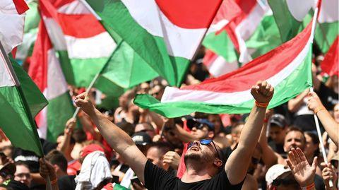 Ungarische Fans mit vielen Landsfahnen im EM-Stadion in Budapest