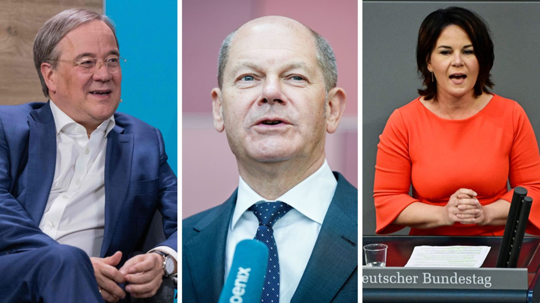 Die Spitzenkandidaten Armin Laschet (Union), Olaf Scholz (SPD) und Annalena Baerbock (Grüne)