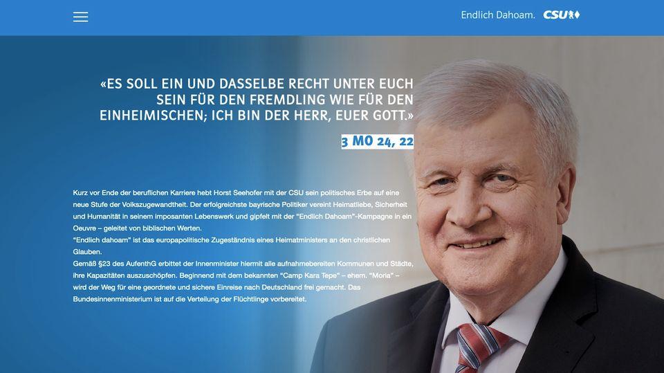 """Ein Screenshot der Internetseite """"Endlich Dahoam"""", mit Bild von Horst Seehofer und einem Bibel-Zitat"""