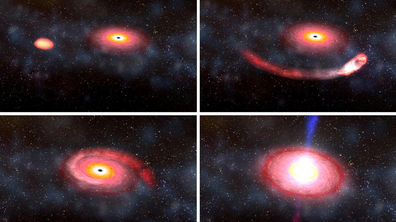 Ein schwarzes Loch verschluckt einen Neutronenstern