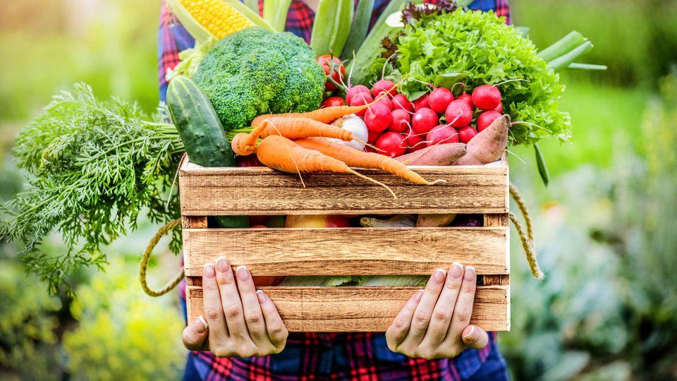 Ernährung und Depression: Eine Frau hält eine mit Gemüse bestückte Kiste in den Händen